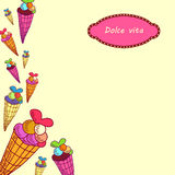 Dolce vita. Greeting card. A  illustration with sweets and the text Dolce vita. Cute background Stock Photo