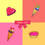 Dolce vita. Greeting card. A  illustration with sweets and the text Dolce vita. Cute background Stock Photos
