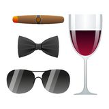 Dolce vita  illustration. With cigar, glass of wine, bow tie and sunglasses Royalty Free Stock Images