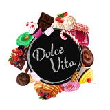 Dolce vita. Sweets collection. royalty free illustration