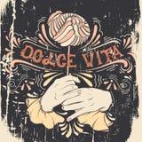 Dolce Vita Vectorillustratie van vrouwenmond het bijten lolly en handen vector illustratie