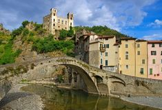 Dolceacqua. In Liguria, the famous old bridge Royalty Free Stock Images