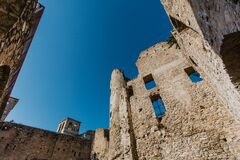 Dolceacqua medieval castle fortress ruins in Dolceacqua, walls and sky perspective, Italy