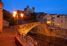 Dolceacqua night. Dolceacqua in Italy, the ancient bridge by night Stock Photo