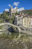 Dolceacqua. The perfectly curved historic arch bridge is the symbol of the small Ligurian town of Dolceacqua Stock Images
