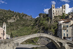 Dolceacqua. The small Ligurian town of Dolceacqua is dominated by a mighty castle Stock Images