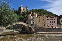 Dolceacqua village, Liguria, Italy. The stone brid Stock Photography