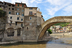 Dolceacqua village, Liguria, Italy. Stone bridge Royalty Free Stock Images