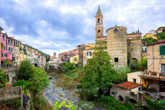 Dolcedo, little italian town in the Maritime Alps mountain in Li. Dolcedo, little italian town hidden in the Maritime Alps mountain on Riviera by Imperia Stock Photo