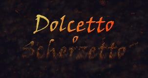 Dolcetto o Schezetto y x28; Truco o Treat& x29; Texto italiano que disuelve en el polvo de la parte inferior Fotos de archivo