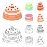 Dolcezza, dessert, crema, melassa Icone stabilite della raccolta del paese dei dolci nel fumetto, azione di simbolo di vettore di Immagini Stock