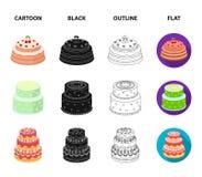Dolcezza, dessert, crema, melassa Icone stabilite della raccolta del paese dei dolci nel fumetto, il nero, profilo, simbolo piano Immagine Stock