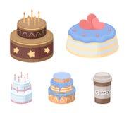 Dolcezza, dessert, crema, melassa Le icone stabilite della raccolta del paese dei dolci nello stile del fumetto vector l'illustra Fotografie Stock