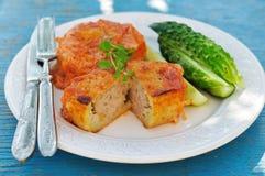 Dolci al forno della patata farciti con carne tritata (kolduny), cucina bielorussa Fotografia Stock