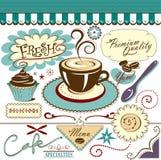 Dolci caldi del caffè degli elementi del caffè della raccolta di vettore Immagine Stock