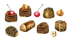 Dolci del cioccolato Illustrazione dell'acquerello Caramelle di cioccolato, tartufi della squisitezza Simbolo di amore Fotografia Stock Libera da Diritti