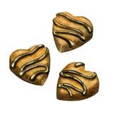 Dolci del cuore del cioccolato Illustrazione dell'acquerello Caramelle di cioccolato, tartufi della squisitezza Simbolo di amore Immagine Stock