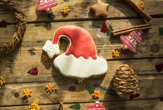 Dolci del pan di zenzero di Natale del nuovo anno immagine stock
