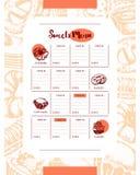 Dolci deliziosi - colori il menu composito disegnato a mano del modello illustrazione vettoriale