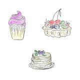 Dolci, dessert, schizzo, scarabocchio, vettore, illustrazione Immagine Stock Libera da Diritti