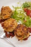 Dolci di granchio con un'insalata del giardino Immagini Stock Libere da Diritti