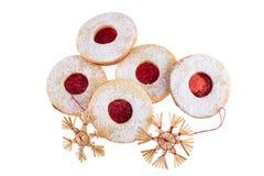 Dolci di Natale e decorazione casalinghi della paglia Fotografia Stock Libera da Diritti