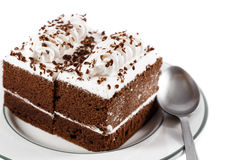 Dolci e cucchiaio di cioccolato Fotografia Stock