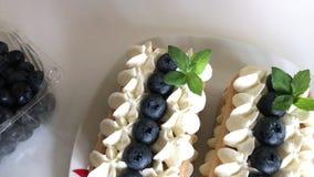 Dolci fatti dei biscotti e della crema di savoiardi Decorato con i mirtilli e la menta Vista da sopra stock footage