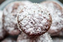 Dolci saporiti del muffin spruzzati con zucchero in polvere casalingo Immagini Stock Libere da Diritti