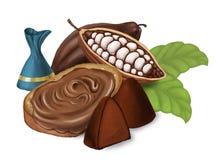 Dolci tartufo, pane con la pasta del cioccolato e cacao Isolato su bianco Immagine Stock