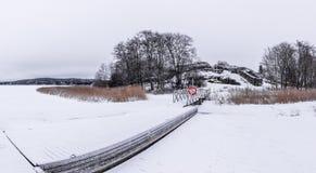Dold brygga för snö Royaltyfri Bild