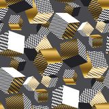 Dold e modello senza cuciture dei cubi geometrici neri 3d Illus del volume Fotografie Stock