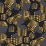 Dold et modèle sans couture des cubes 3d géométriques noirs Photographie stock libre de droits