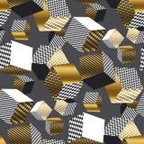 Dold et modèle sans couture des cubes 3d géométriques noirs Illus de volume Photos stock