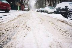 Dold gata för snö Arkivfoton