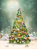 Dold liten by för snöfall med trädet 10 eps Royaltyfri Fotografi