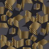 Dold och modell för geometriska kuber för svart 3d sömlös Royaltyfri Fotografi