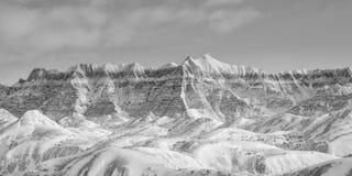Dolda berg för vinterBadlandssnö Royaltyfria Foton