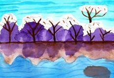 Dolda träd för snö vid ett hav - målning för vattenfärg royaltyfria foton