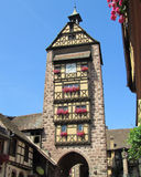 Medieval Belfry, Riquewihr, France. The Dolder, a medieval belfry, watch tower, and upper gate of the lovely old town of Riquewihr, in the Alsace region of Royalty Free Stock Photo