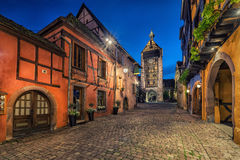 Dolder Tower and traditional houses in Riquewihr, France Royalty Free Stock Photo