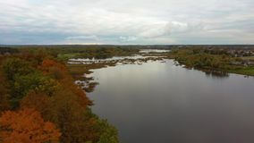 Fly Above Doles Sala, the Second Largest Island in Latvia. This is a Peninsula in the Daugava River, Near the Borders of Riga.