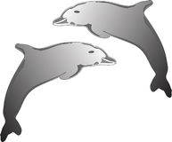 Dolfhin Logo. Silver Dolphins Royalty Free Illustration