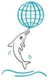 dolfijn en glob Royalty-vrije Stock Afbeelding