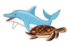 Dolfijn en schildpad die samen zwemmen royalty-vrije illustratie