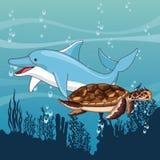 Dolfijn en schildpad die samen zwemmen vector illustratie