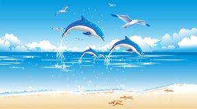 Dolfijn en strand Vector Illustratie