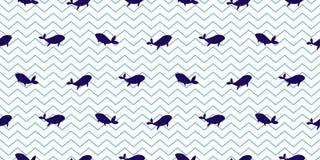 Dolfijn en walvis naadloos vectorpatroon Blauwe gestreepte de vissen eenvoudige achtergrond van de beeldverhaalstijl vector illustratie