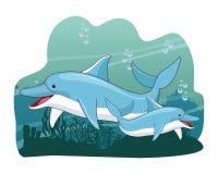 Dolfijn twee die samen pictogram zwemmen vector illustratie