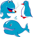 Dolfijn, walvis, pinguïn vector illustratie